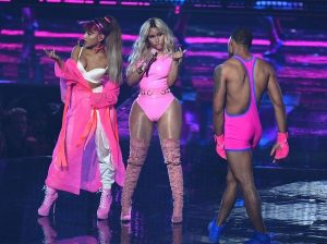 Ariana Grande and Nicki Minaj perform at the 2016 VMAs.